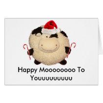 Happy Cow Christmas Card Postcard I Love You
