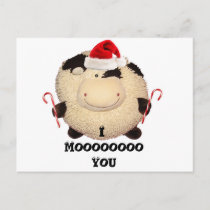 Happy Cow Christmas Postcard I Love You