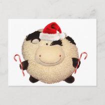 Happy Cow  Christmas Santa Postcard