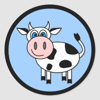 Happy Cow - Customizable! Classic Round Sticker