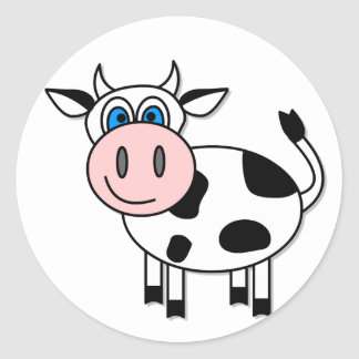 Happy Cow - Customizable Round Stickers