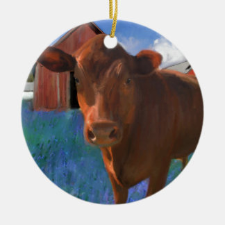 Happy Cow in West Marin Ceramic Ornament