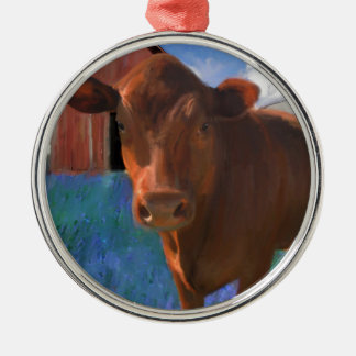 Happy Cow in West Marin Metal Ornament