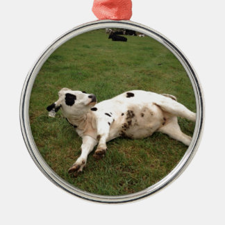 happy cow organic farm metal ornament
