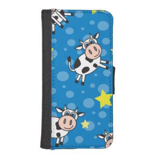 Happy Cow Pattern Blue iPhone SE/5/5s Wallet
