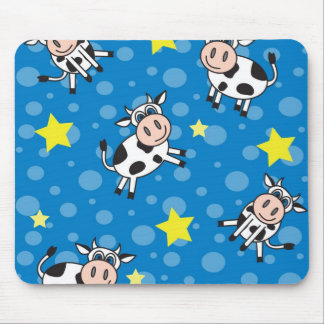 Happy Cow Pattern Blue Mouse Pad