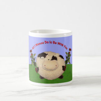 Happy Cow Valentines All I Wanna Do Is Be With You Classic White Coffee Mug