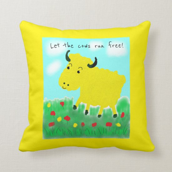Happy Cow Vegan Throw Pillow