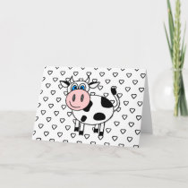 Happy Cow with Hearts Blank Card