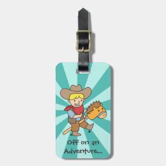 Happy cowboy on an adventure bag tags