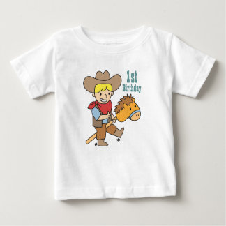 Happy cowboy riding on a horse stick baby T-Shirt