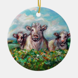 Happy Cows curious Ceramic Ornament