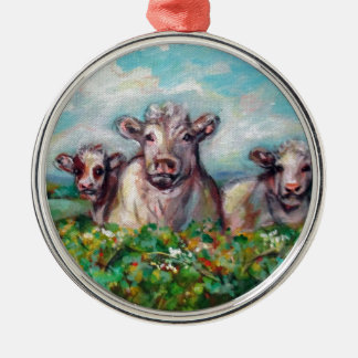 Happy Cows curious Metal Ornament
