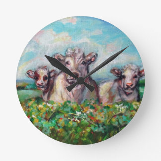 Happy Cows curious Round Clock