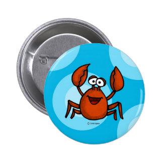 happy crab 2 inch round button
