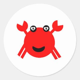 Happy crab classic round sticker