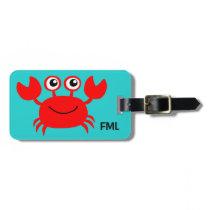 Happy Crab custom luggage tag