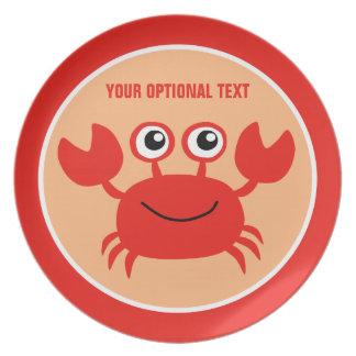 Happy Crab custom melamine plates