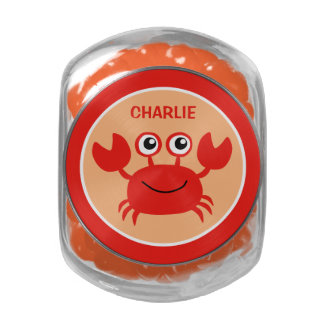 Happy Crab custom monogram tins & jars Jelly Belly Candy Jar