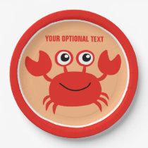 Happy Crab custom paper plates
