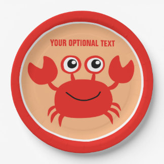 Happy Crab custom paper plates 9 Inch Paper Plate