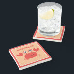 "Happy Crab custom stone coaster<br><div class=""desc"">Change the text to whatever you want. Using the &quot;customize it&quot; function,  you can change the background color and the font and its color to any color you want.  See my store for more sea creatures items.</div>"