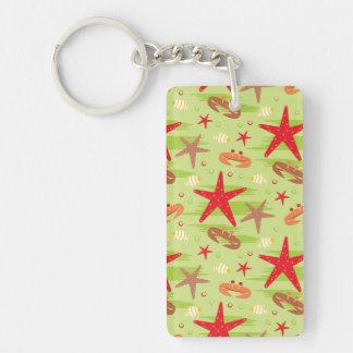 Happy Crab & Starfish Pattern Keychain