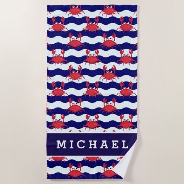 Beach Themed Happy Crabs Pattern Beach Towel