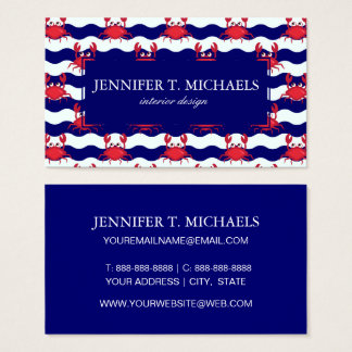 Happy Crabs Pattern Business Card