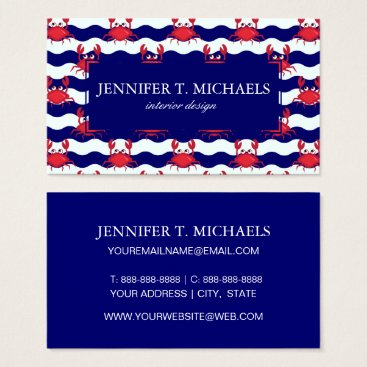 Beach Themed Happy Crabs Pattern Business Card