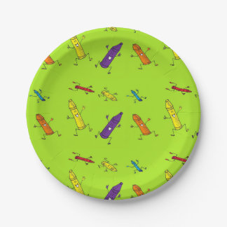 happy crayons green paper plate