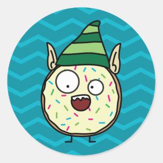 Happy Crazy Donut with Elf Ears Classic Round Sticker