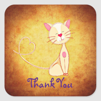 Happy Cream Colored Cat with a Heart Thank You Square Sticker