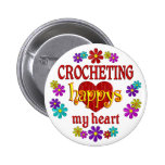 Happy Crocheting Pinback Buttons