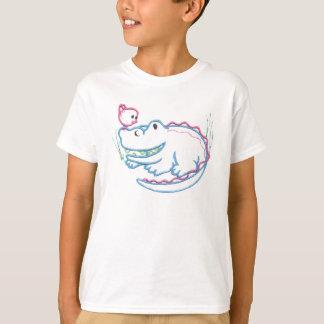 Happy Crocodile And Bird T-Shirt