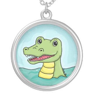 Happy Crocodile customisable Round Pendant Necklace