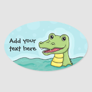 Happy Crocodile customisable Oval Stickers
