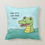 Happy Crocodile customisable Throw Pillow