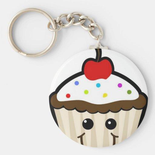 Happy Cupcake Basic Round Button Keychain