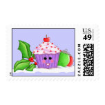 Happy Cupcake Christmas Postage Stamp