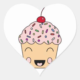 Happy Cupcake Heart Sticker