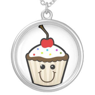 Happy Cupcake Silver Plated Necklace