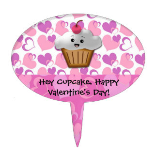 Happy Cupcake Valentine Cake Topper