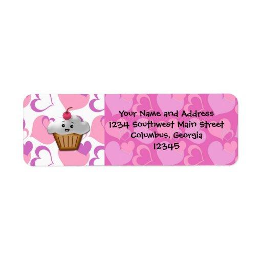 Happy Cupcake Valentine Custom Return Address Labels