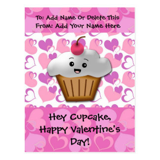 Happy Cupcake Valentine Postcard