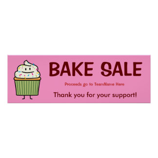 Happy cupcake with Sprinkles Bake Sale Poster