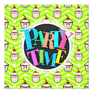 Happy Cupcakes on Neon Green Chevron Stripes Card