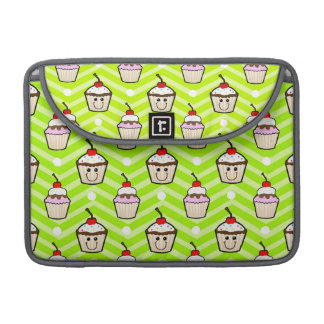 Happy Cupcakes on Neon Green Chevron Stripes MacBook Pro Sleeves