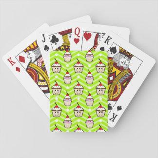 Happy Cupcakes on Neon Green Chevron Stripes Card Decks