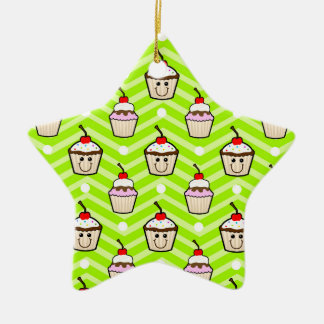 Happy Cupcakes on Neon Green Chevron Stripes Christmas Ornament